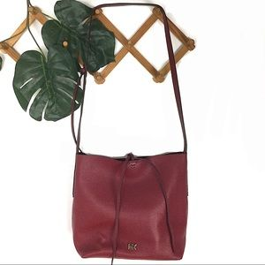 Michael Kors Red Pebble Leather Bucket Bag